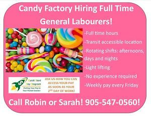 GENERAL LABOUR: CANDY PACKAGING IN HAMILTON! START ASAP!