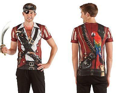 Kunst- Echt Sublimation Schwadroneur Piraten Kostüm Outfit T-Shirt S-2Xl
