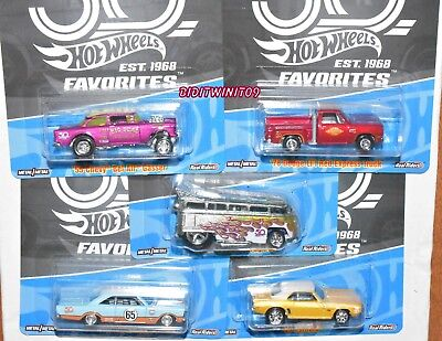 HOT WHEELS 2018 50th FAVORITES SET OF 5 VW T1 DRAG BUS GASSER