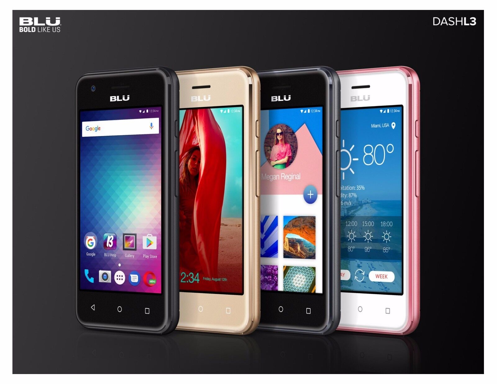Android Phone -  Blu Dash L3 Unlocked Dual SIM Smartphone Android 6.0 Marshmallow GSM Cell Phone