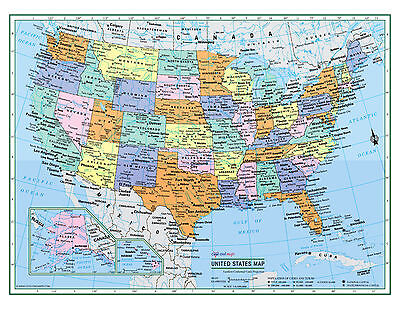 Usa United States Wall Map Color Poster 22 X17    Large Print Rolled Paper 2017