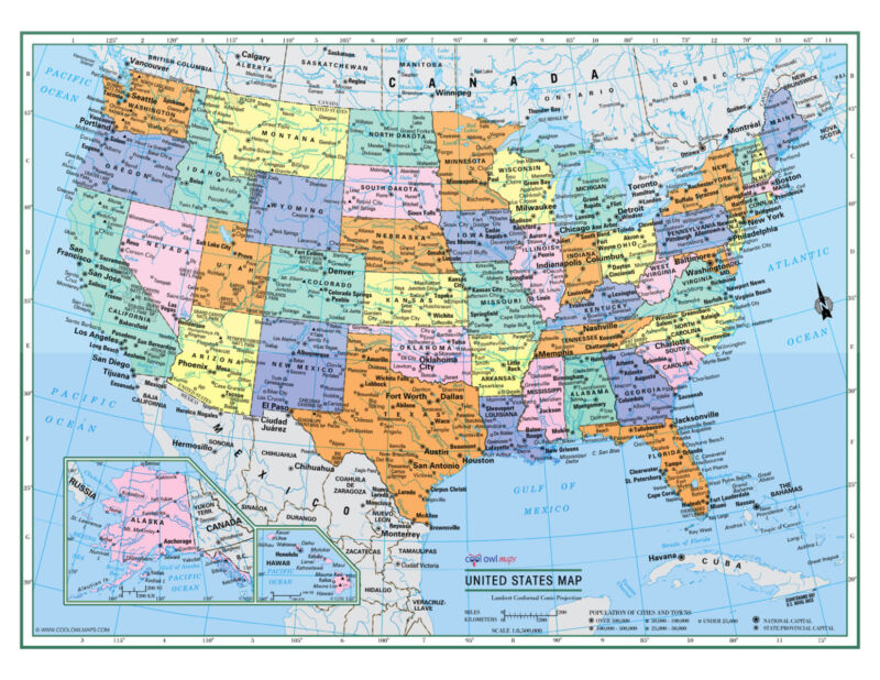 """USA United States Wall Map Color Poster 22""""x17"""" - LARGE PRINT Rolled Paper"""