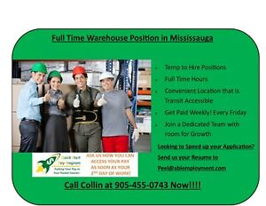 Full Time Warehouse Jobs! Heavy Lifters Needed!