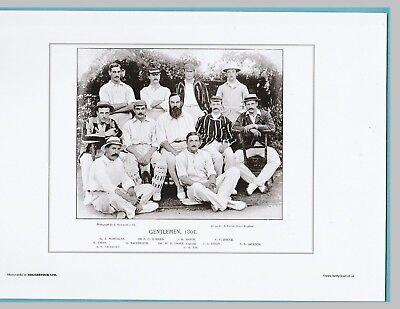CRICKET  -  UNMOUNTED CRICKET TEAM PRINT - GENTLEMEN - 1895