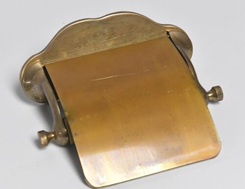 VINTAGE BATHROOM BRASS TOILET PAPER HOLDER WITH BRASS COVER FLAP