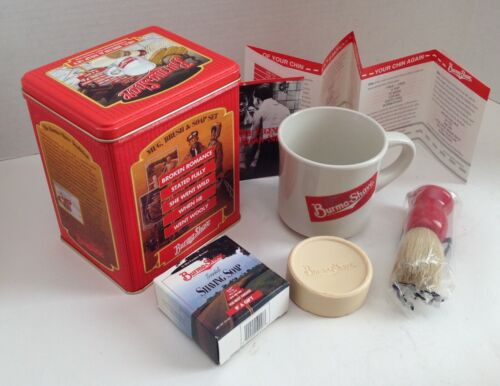 Burma Shave Gift Set, Mug, Brush, Soap, Collectible Shaving, metal deco can
