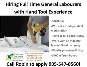 $16/HR GENERAL LABOUR IN STONEY CREEK – USING HAND TOOLS.