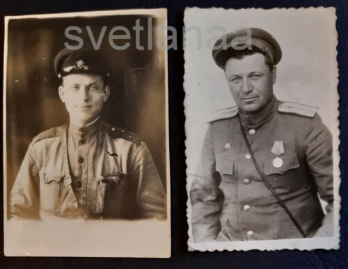 2! WWII Soviet Red Army Military man ORDER RED STAR Poem on back SEE DESCR photo