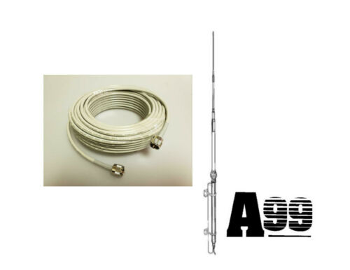 NEW ANTRON 99 CB,HAM BASE ANTENNA & 50 ft DS RG8X COAX CABLE 95% SHIELDED A99