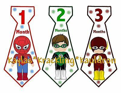 13 Super hero Monthly Ties Stickers Baby shower milestone