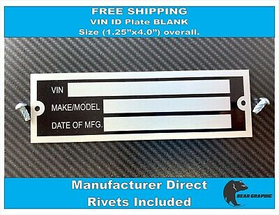 Vin Serial Id Tag Plate Data Blank Car Truck Hot Rod Equipment Trailer Free Ship