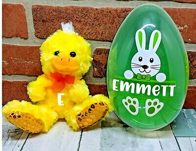 Jumbo Easter Egg with Bunny & Plush Personalize with Child's Name Basket Stuffer](Halloween Baskets Personalized)