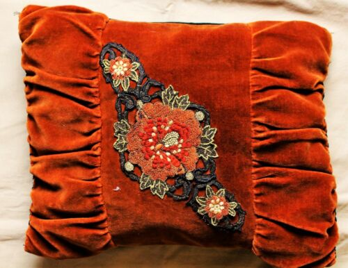 Original Victorian Velvet Pillow Embellished with Needlepoint c. 1885