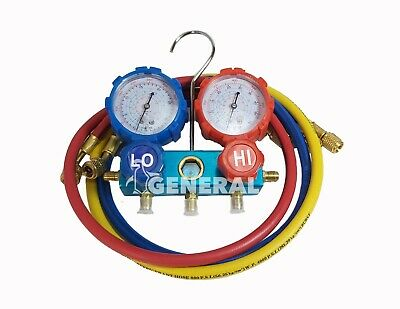 Ac Manifold With Set Of 3 Inches Hoses For Refrigerant R410a R134a R22 R404