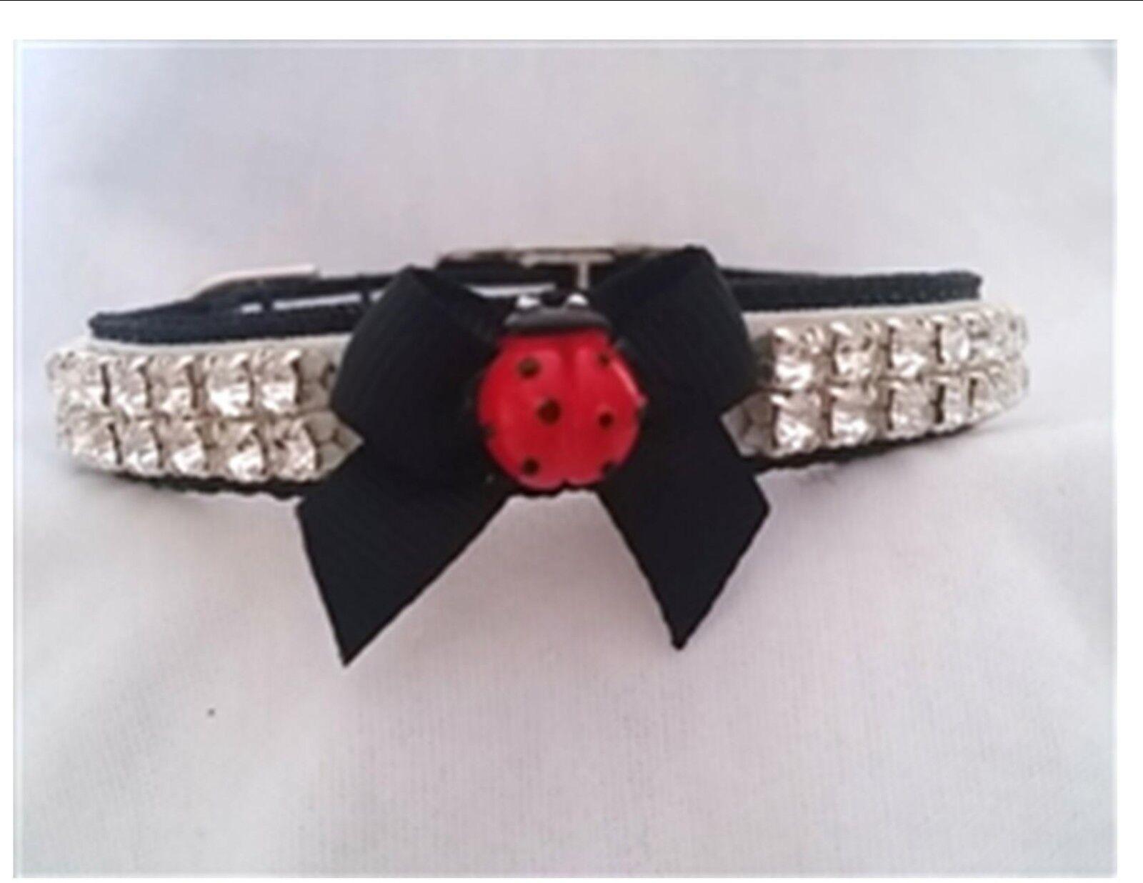 Pet Collar Rhinestone Ladybug Small dog collar cat collar Cu