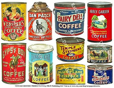 Coffee Can Images, 2 Sticker Sheets, Kitchen Collage Art, Antique Coffee (Art Images Collage Sheet)