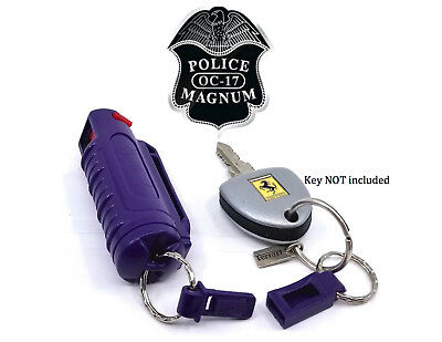 Police Magnum .50oz pepper spray 2 purple molded keychain 2 QR self defense
