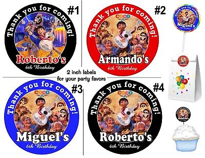 20 DISNEY COCO BIRTHDAY PARTY FAVORS STICKERS LABELS for lollipops ~ goody bags - Goodie Bags For Birthday Party
