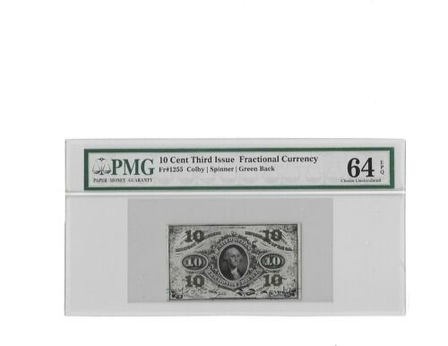 Fr.1255 Third Issue 10 Cent Fractional Green Reverse PMG Ch UNC 64 EPQ
