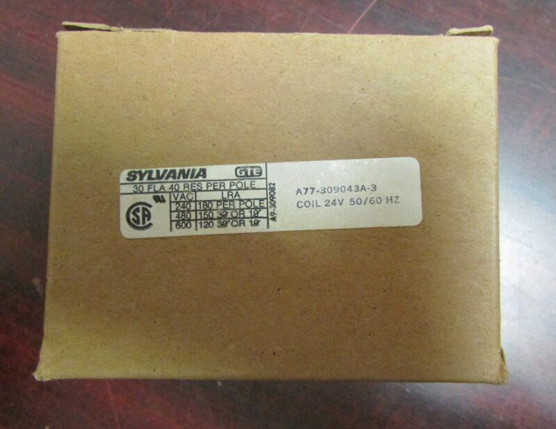 SYLVANIA GTE JOSLYN CLARK Contactor A77 309043A 3 3 Amp 24V Coil DP3C302
