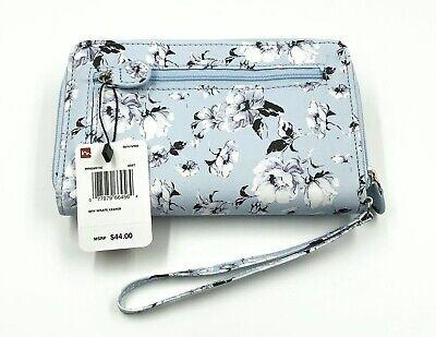 New Mundi My Big Fat Wallet LT Blue Pattern Zip Around Clutch Wristlet -