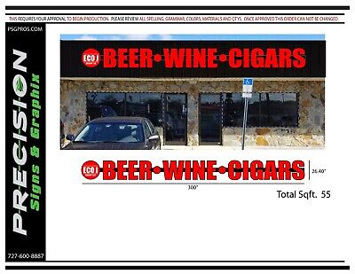 Channel Letters on Raceway Sign (Logo.Beer.Wine.Cigars) Liquor Store (Raceway Stores)