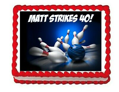 Bowling party edible cake image topper frosting sheet - Bowling Cake