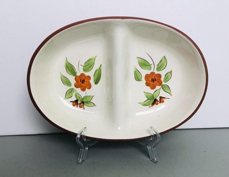Vintage Stangl Bittersweet Design Hand Painted Oval Ceramic Divided Serving USA