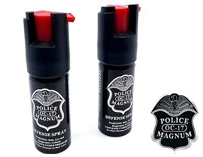 2 PACK Police Magnum pepper spray 1/2oz unit safety lock self defense security