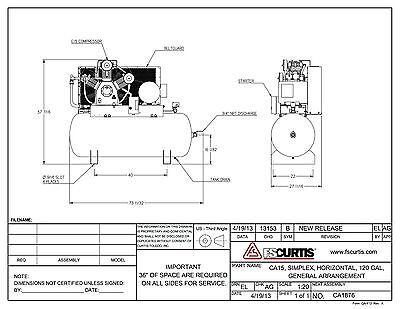 Fs Curtis Ca Series Simplex Horizontal Tank Mounted Air Compressor 15 Hp