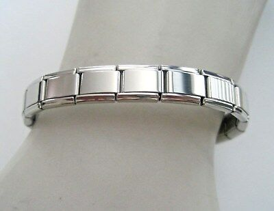 Italian Modular Charm 9mm Links Shiny Stainless Steel Bracelet Made in Italy