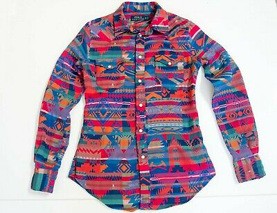 Women's Ralph Lauren Polo SM Cotton Aztec Southwestern FITTED Knit Western Shirt