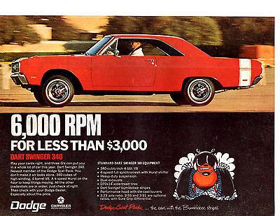 1969 DODGE DART SWINGER 340  ~  ORIGINAL MUSCLE CAR AD