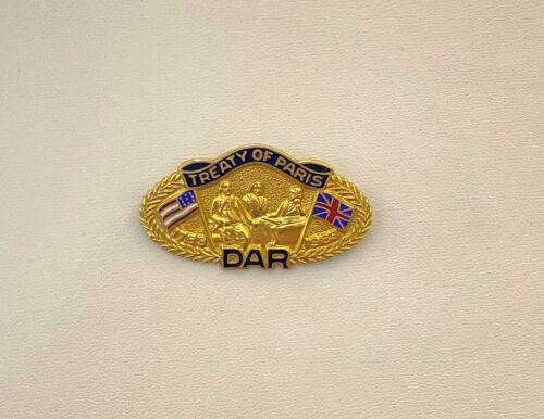 DAR Daughters Of The American Revolution Vintage GF Treaty of Paris  Pin J.E.C