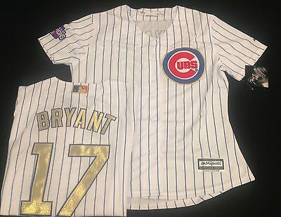 Chicago Cubs Kris Bryant Womens Gold Edition Jersey With World Series Patch