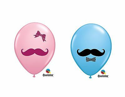 Baby Mustache Latex Balloons, Gender Reveal, Baby Shower Decor, Ribbon or Bowtie