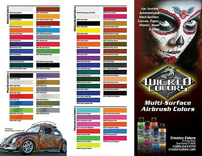 Createx Wicked Colors Water-Based 2oz Universal Airbrush Paint  select any (Createx Airbrush)