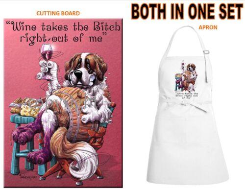 Saint St. Bernard Dog Breed Wine Art Kitchen Glass Cutting Board Apron Gift Set