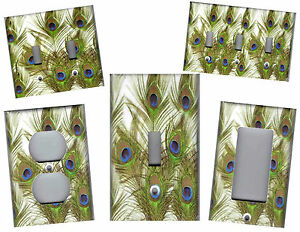 Peacock Feathers Green And Blue Peacock Feathers Home Decor Light Switch Plate