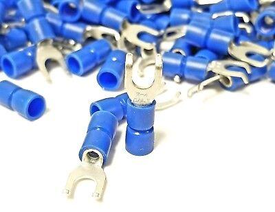 100pk Flanged Fork Terminal 16-14 Blue Vinyl Insulated 8 Hook