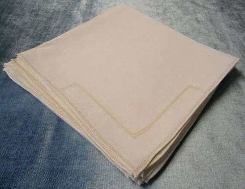 Vintage 6 Linen Napkins Double Hemstitched Ivory Hand Hemmed Mitres Table Ready!