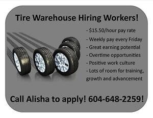 $15.50/HR HEAVY LIFTING GENERAL LABOUR - TIRE WAREHOUSE