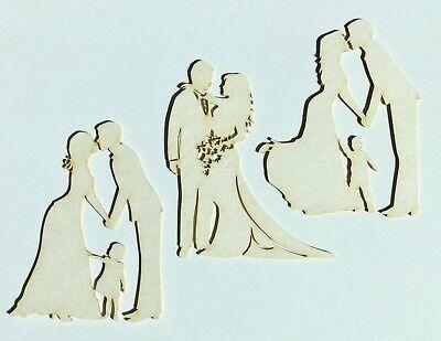 Brautpaar m.Kind Hochzeit Applikation Kartenschmuck Kartenaufleger Scrapbooking