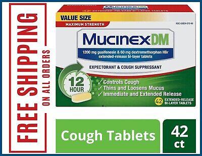 Mucinex DM Maximum Strength 12-Hour Expectorant and Cough, 42 ct Exp: 01/2021+ Mucinex Dm Expectorant