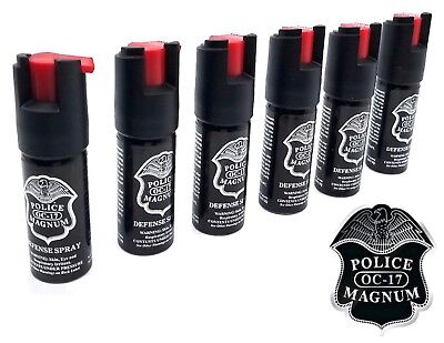 6 Police Magnum Pepper Spray mace 1/2oz ounce safety lock defense security