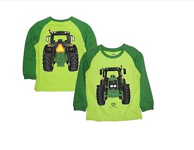 NEW John Deere Boys Green Long Sleeve Tractor Coming Going T-Shirt  4,5,6,7 - John Deere Boys T-shirt