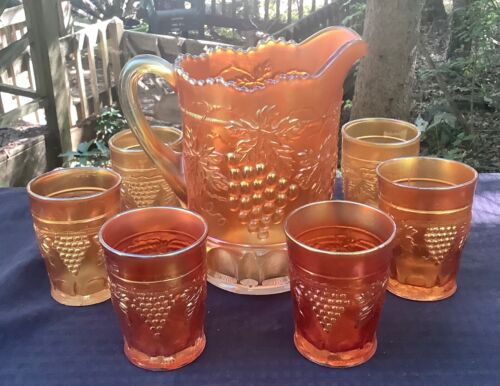 CARNIVAL BEAUTIFUL SIGNED NORTHWOOD  MARIGOLD GRAPE & CABLE 7 PIECE WATER SET