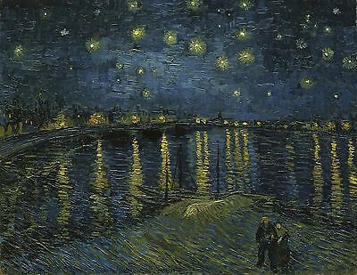 """Starry Night Over The Rhone by Vincent Van Gogh, 12.25""""x16"""", Canvas Print"""