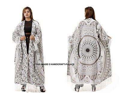 Tresillo Mandala Borla Kimono Largo Indio Abrigo Chaqueta de Algodón Gran Tamaño
