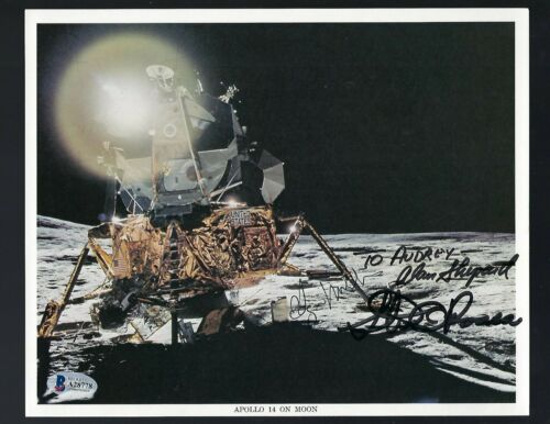 Apollo 14 Full Crew signed 8x10 NASA Litho Beckett Authentic Shepard, Roosa ...